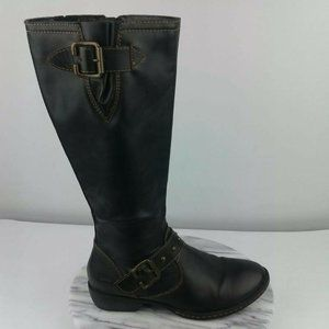 Born BOC Black Leather Full Zip Tall Riding Boots